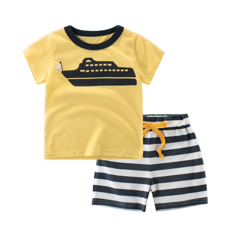 1-8 Years Kids Summer Boys Clothes Children Clothing Set Cotton Suit Baby Boys Clothes Set Printed T-shirt + Striped Shorts 1706