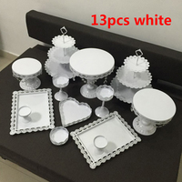 white wedding cake stand with crystalset 6 13 pieces cupcake stand barware decorating cooking cake design tools bakeware