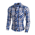 2016 New Fashion Men's Plaid Shirt Casual Long-Sleeved Cotton Shirt Slim Business Popular Shirts Men 13M0527