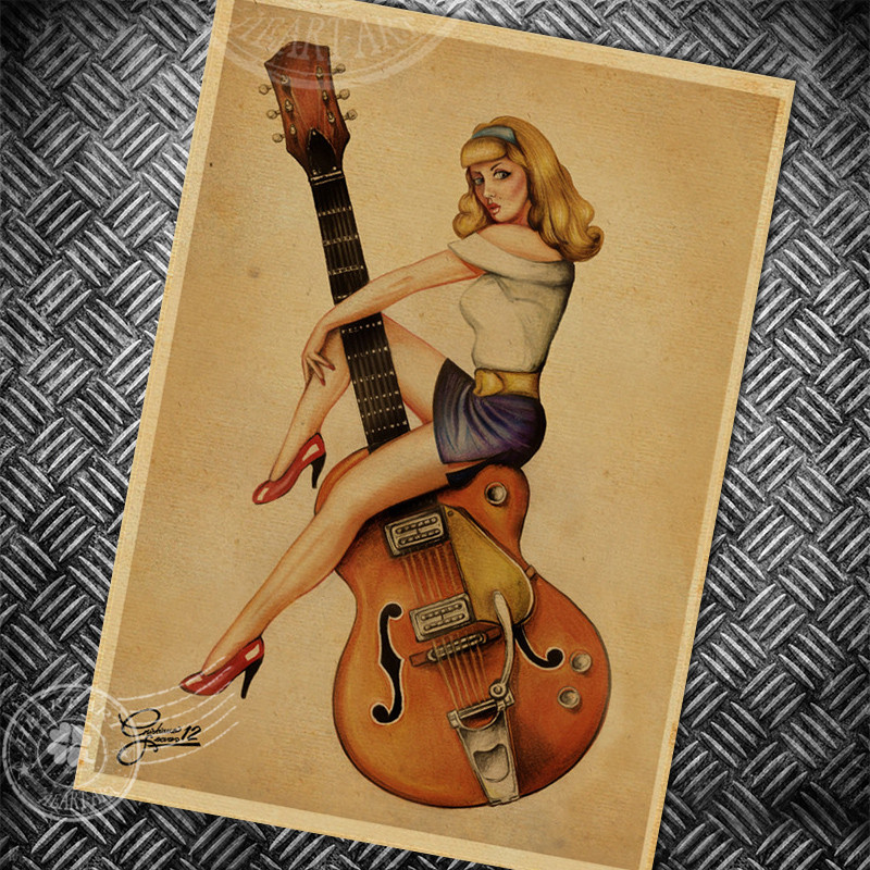 Us 1 97 Music Guitar Vintage Poster Retro Painting Sexy Girl Old Living Room Bedroom Bar Decor Wall Art Picture Classic Photo 42x30cm In Wall