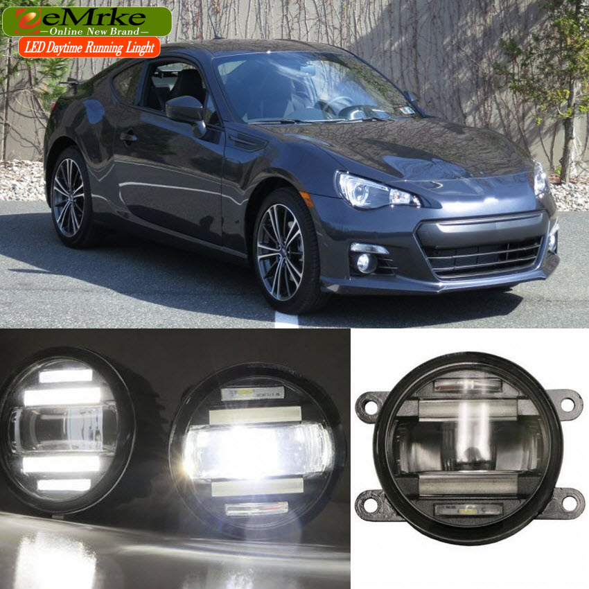 eeMrke Xenon White High Power 2in1 LED DRL Projector Fog Lamp With Lens For Subaru BRZ 2012 -up eemrke xenon white high power 2 in 1 led drl projector fog lamp with lens daytime running lights for renault kangoo 2 2008 2015