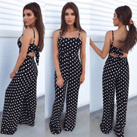 Casual Boho Beach Jumpsuit Summer Women Print Dot Female Trousers Jumpsuit Elegante Womens Clothing Overalls Plus Size Trousers