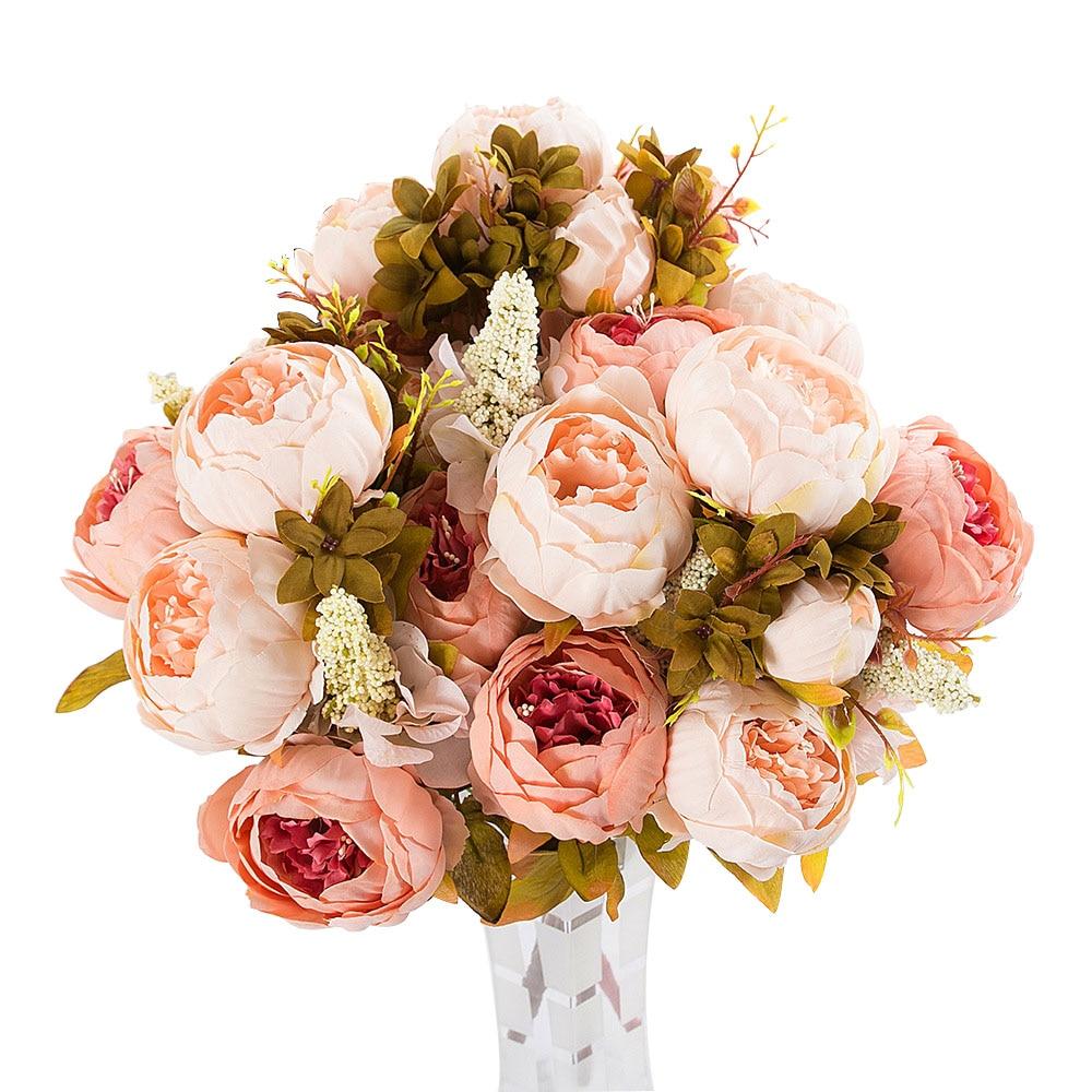 1 Bunch Vintage Artificial Peony Silk Flower Bridal Hydrangea Home Garden Decor