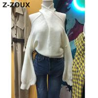 Z ZOUX Women Sweater Hanging Collar Sexy Knitted Pullover Off The Shoulder Batwing Sleeve Pullover Sweater Loose Women Tops 2018