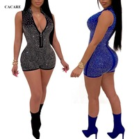 Bodycon Jumpsuit Elegant Glitter Bodysuit Sexy Women with Full Rhinestones Summer Short Romper F0023 Deep V Neck Front Zipper