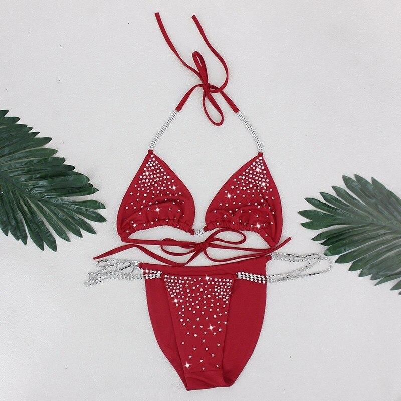 Pfflook Sexy Two Pieces 2018 NEW Bikini Set For Women Swimming Suit Solid Rhinestone Femme Swimsuit Bandage Bathing Free Ship 5