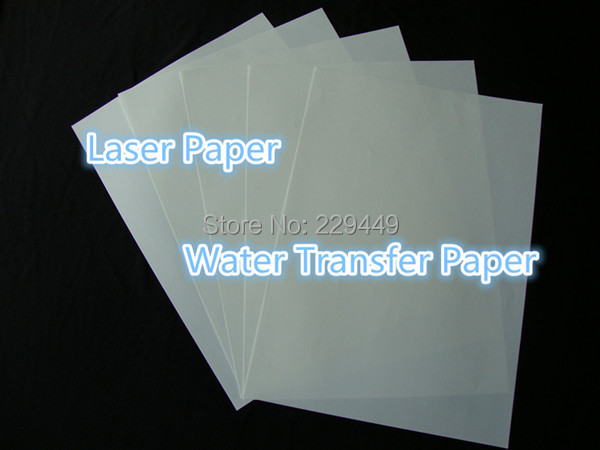 (200 sheets) Wholesale A4 Size Paper Transparent Color Laser Water Transfer Paper Chep Papers Water Slide Paper For Ceramic Cup