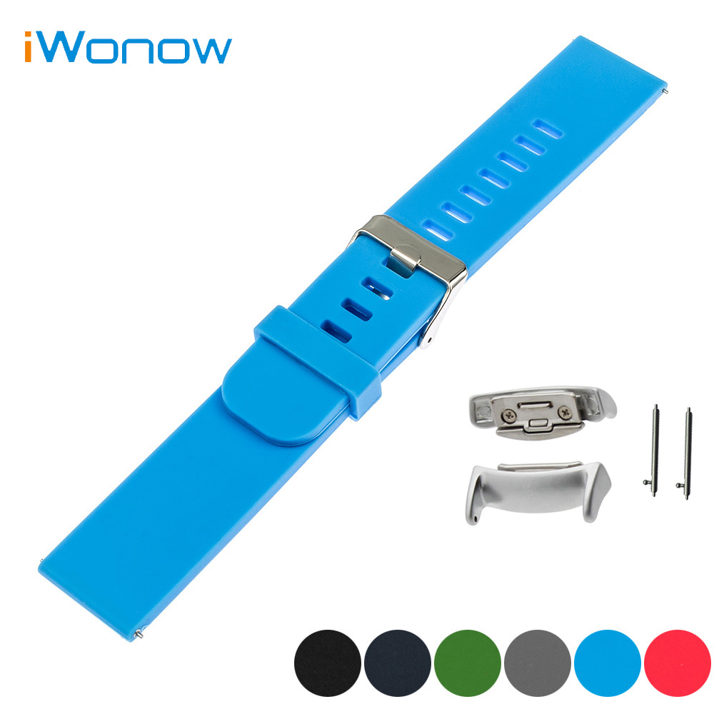 Silicone Rubber Watch Band 18mm for Samsung Gear Fit 2 SM-R360 Quick Release Strap Wrist Belt Bracelet Black Green + Adapters