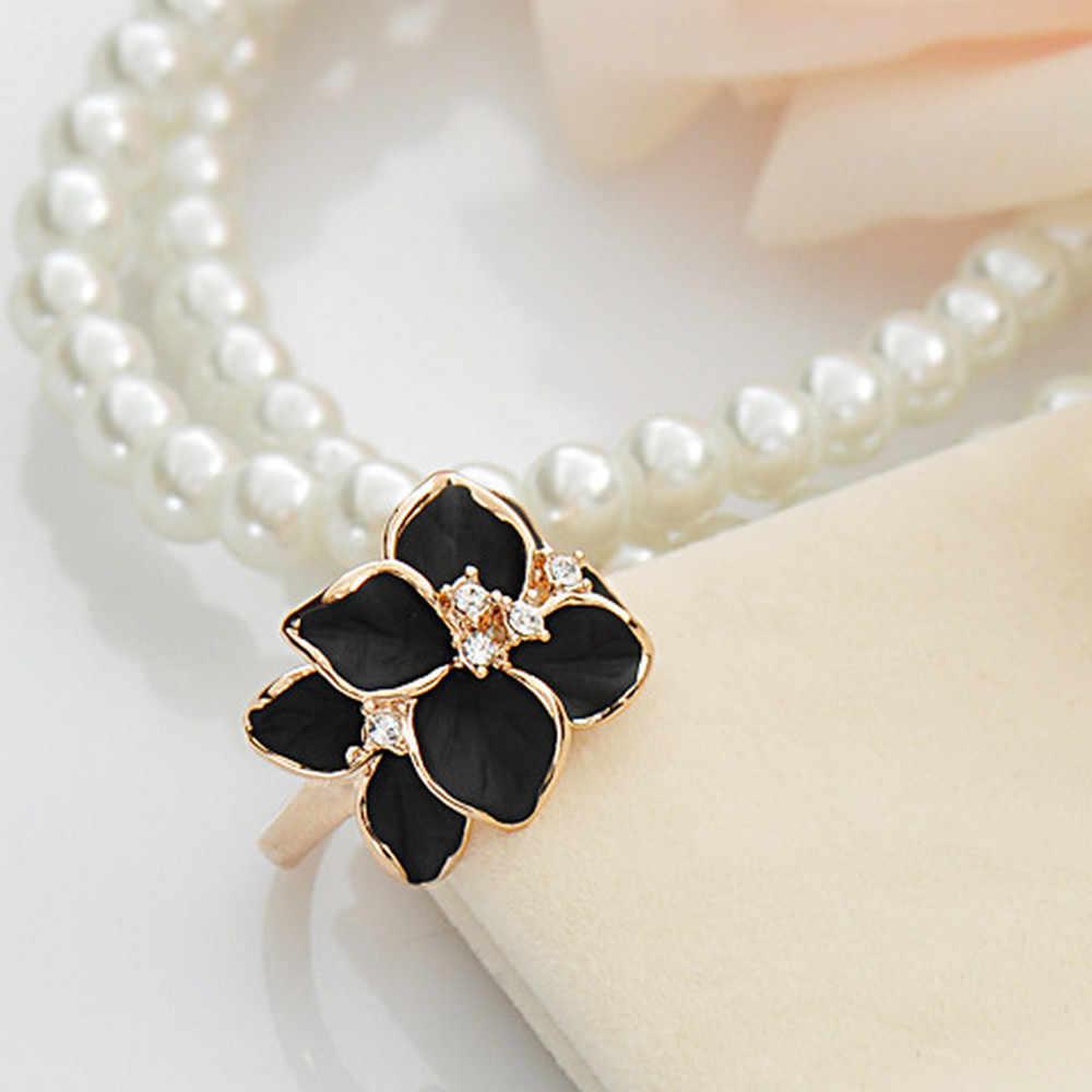 2019 nuevos anillos de flores de cristal de Color dorado anillo de Camelia de circonita cúbica para Mujer anillos de bisutería de boda de compromiso