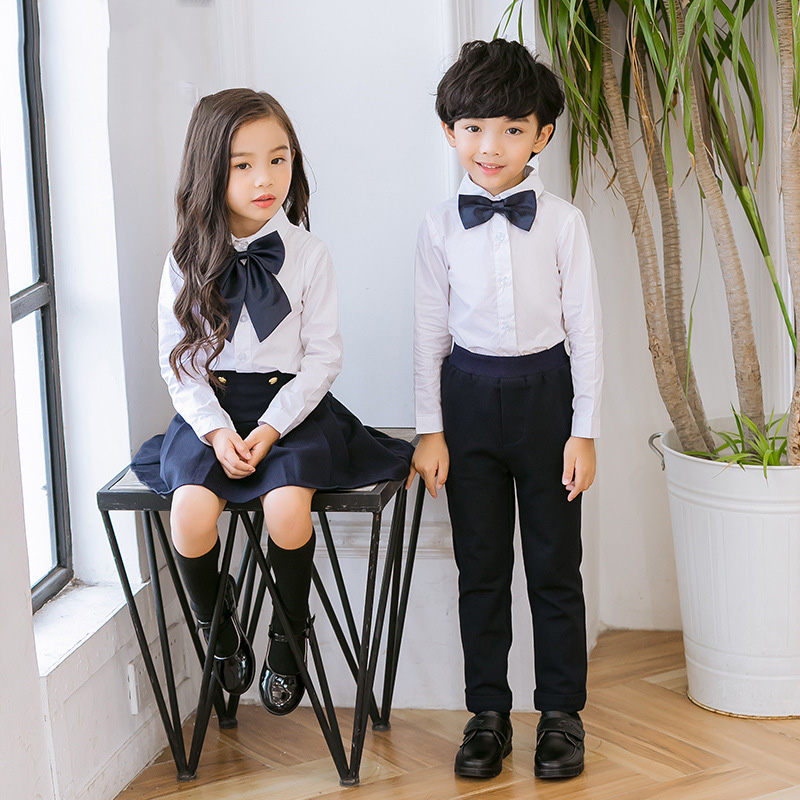 Children Korean Japanese Student Formal Preppy School Uniforms for Girls Boys Kids Shirt Top Pleated Skirt Pants Tie Clothes W49 цена