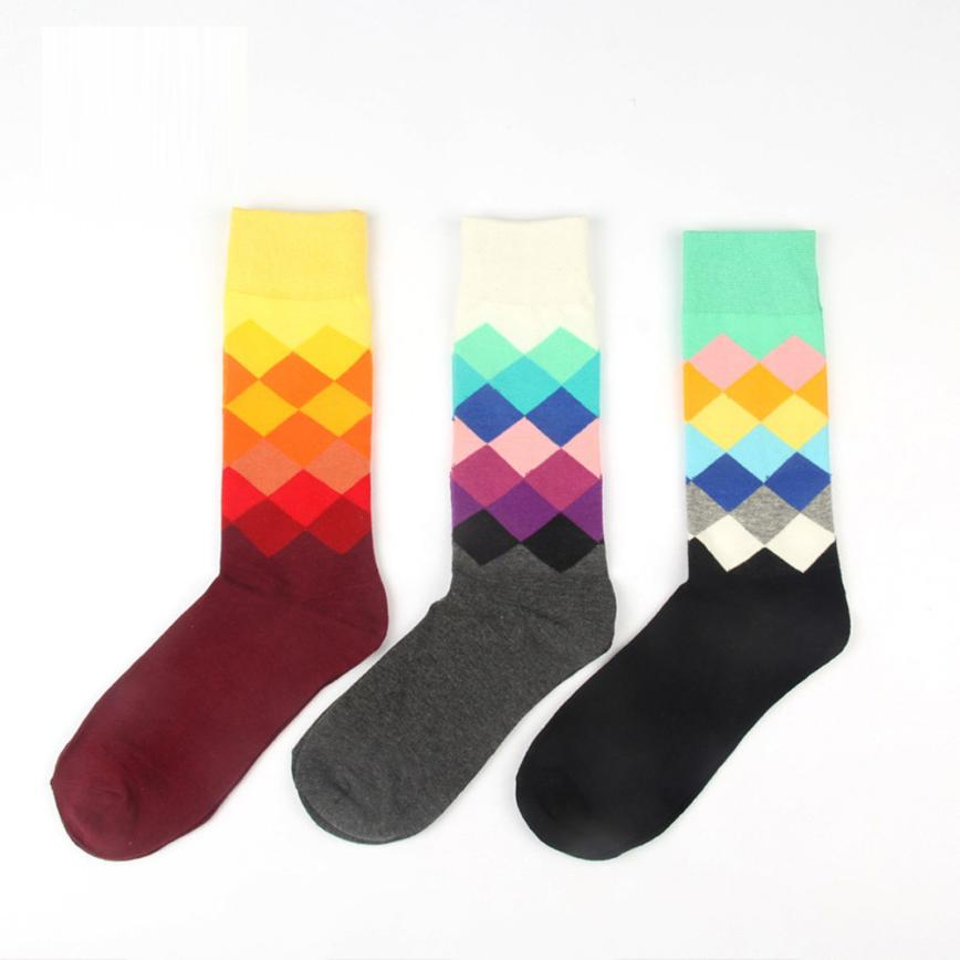 MUQGEW 2017 Fashion Mens soft Casual Cotton Socks Design Multi Color Dress Mens Socks calzini