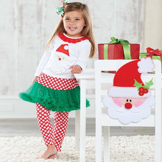 girls christmas clothing sets santa claus t shirt culottes 2pcs baby girl long sleeve xmas