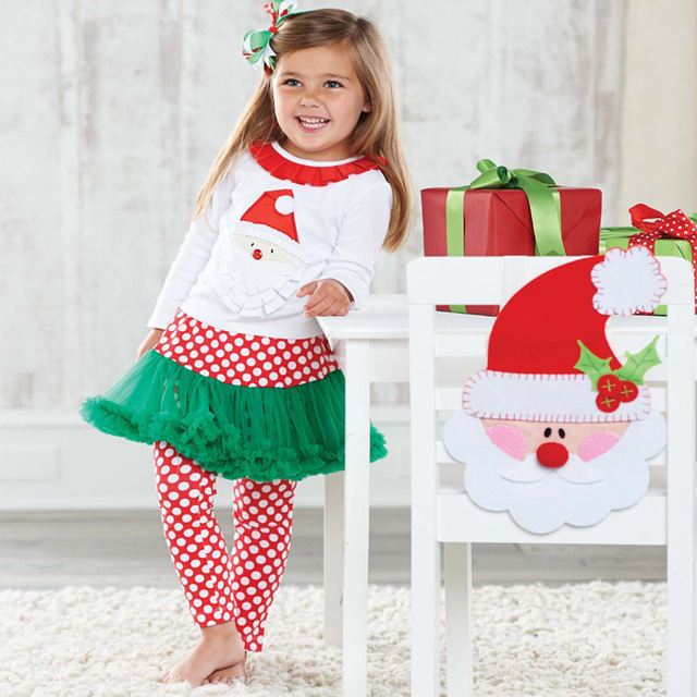 4578b5e0ff71 Girls Christmas clothing sets Santa Claus t shirt + Culottes 2pcs ...