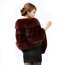 New Bridal Jacket Coat Faux Fur Women Wedding Shawl Evening Party Dress Wraps Fur Shoulder Capes Slim Lady Fake Fur Cloak WZ134(China)