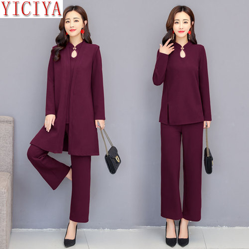 1dbc3a7369 YICIYA purple 3 piece suit women 2 piece set winter autumn outfits co-ord  set pants suits and top clothes elegant plus size 5xl | Seamless Deals
