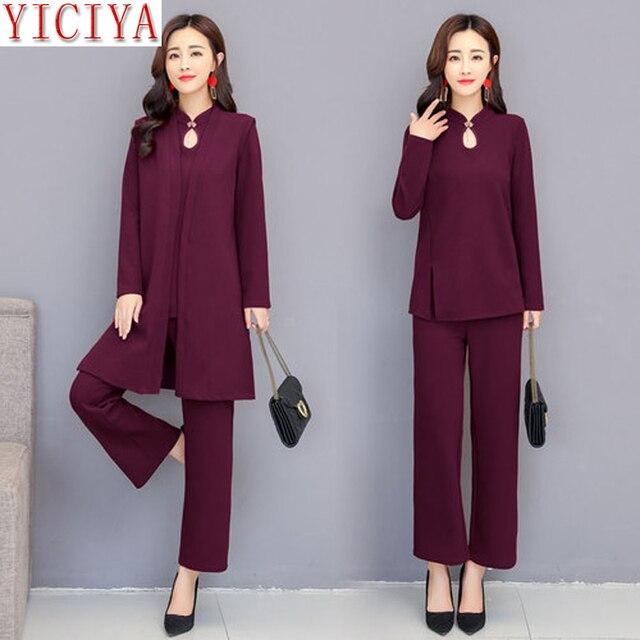 Yiciya Purple 3 Piece Suit Women 2 Piece Set Winter Autumn Outfits