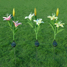 Solar LED Lily Flower Light 3 LED Energy Saving Lamps Outdoor Garden Path Yard Lawn Decoration Night Lamp