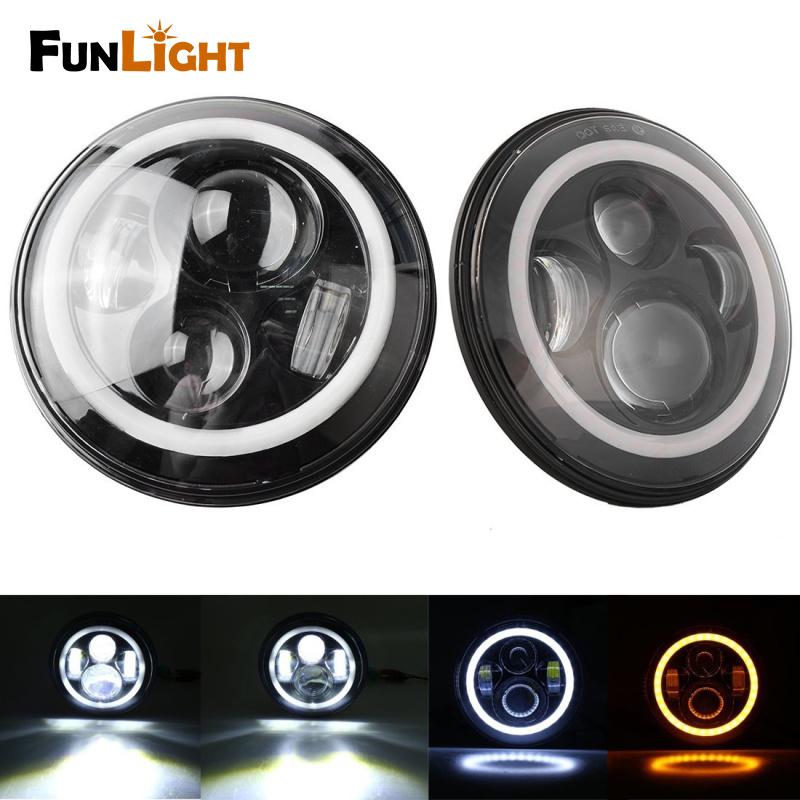 7 Inch Round LED Headlight Hi/Lo Beam With White Halo Ring Angel Eyes+Amber Turning Signal Light For Jeep Wrangler JK TJ 6 inch led headlights eagle light hi lo beam halo ring angel eyes x drl for offroad jeep wrangler front bumper fog light