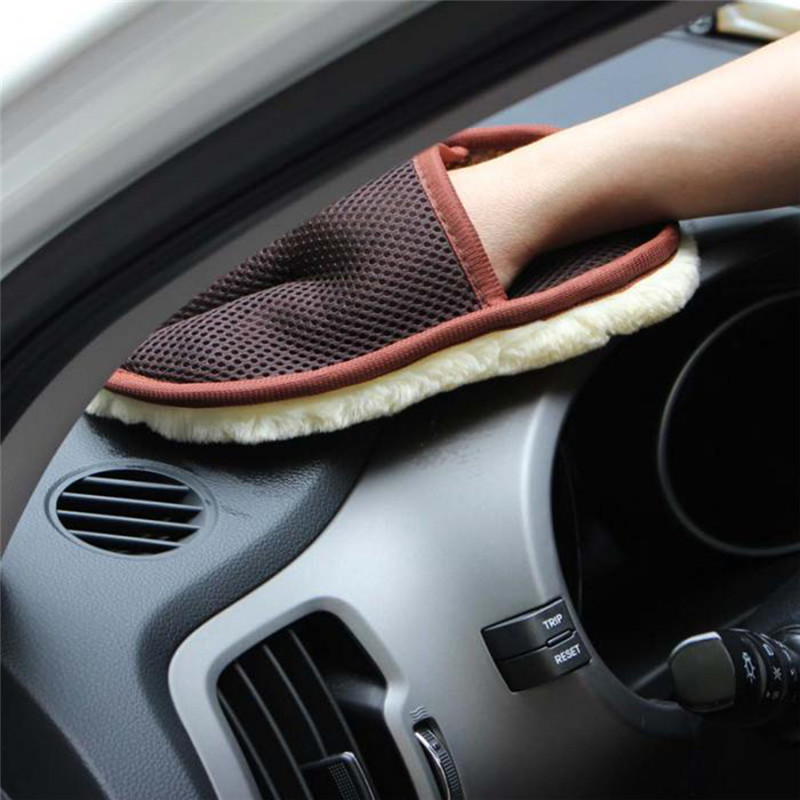 Car Styling 15*24cm Automotive Car Cleaning Car Brush Cleaner Wool Soft Car Washing Gloves Cleaning Brush Motorcycle Washer Care(China)