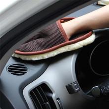 Car Styling 15*24cm motoryzacja czyszczenie samochodu szczotka do czyszczenia samochodu wełna miękkie rękawice do mycia samochodów szczotka do czyszczenia motocykl podkładka pielęgnacja tanie tanio Gąbki Tkaniny i szczotki 15cm 0inch Artificial Wool Mitten design to provides better skid resistance Liplasting