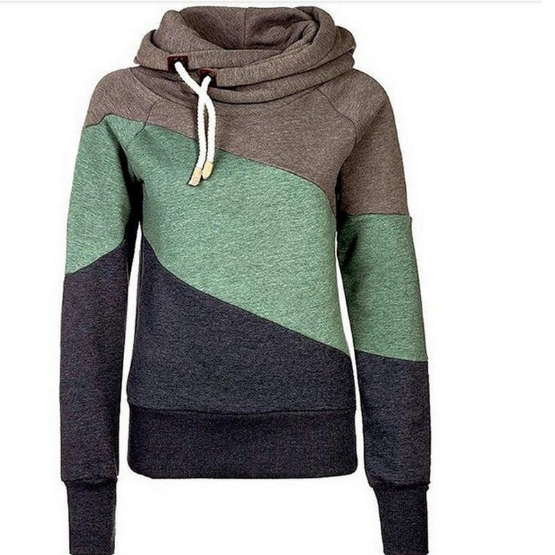 Sudaderas Mujer 2015 Women Hoody Autumn Winter Sportwear Thickening patchwork Women Sweatshirt Hoodies