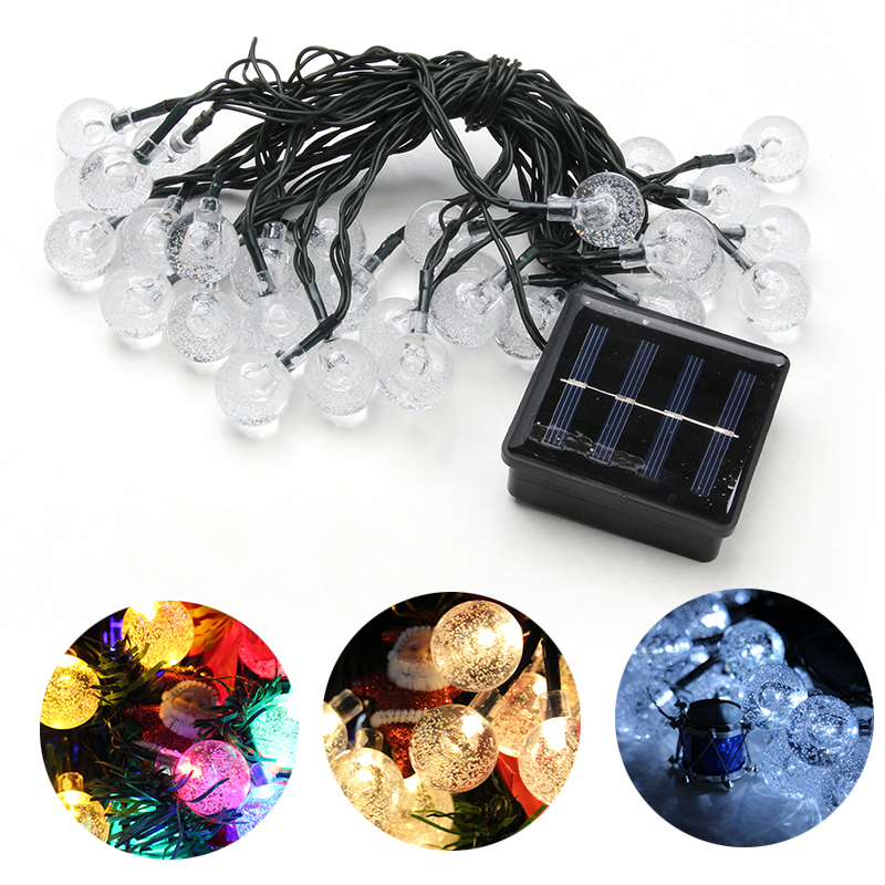3 Types 30 LEDS Crystal Bubble Ball Solar Operated String Lights Christmas Decoration Home Party Bedroom Outdoor Indoor