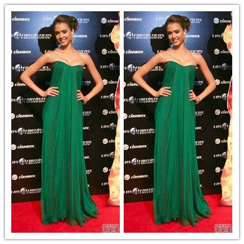 Green strapless maxi dress