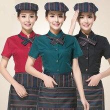 New Design Summer Work Wear Waiter Clothes Short-sleeve Waiter Uniforms Waitress Wholesale