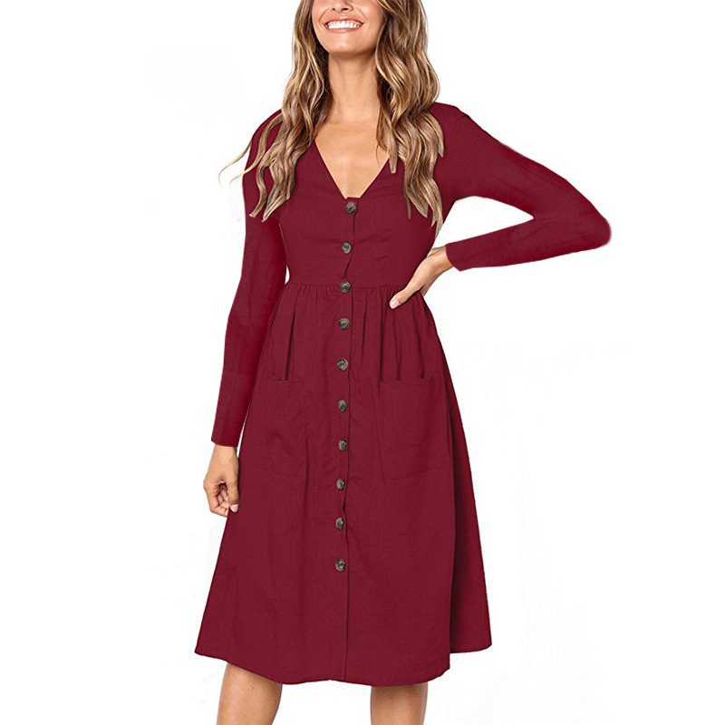 Red Blue A Line Casual Dresses Women Autumn Dress 19 Vintage Long Sleeve Dress For Ladies Buttons V Neck Midi Vestidos Female 23