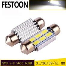 Festoon automotivo branco 1 peça, 31/36/39/41mm 5630 5730 led 6 smd c5w 6418 SV8.5-8 12v canbus auto leitura dome luz de lâmpada de licença.