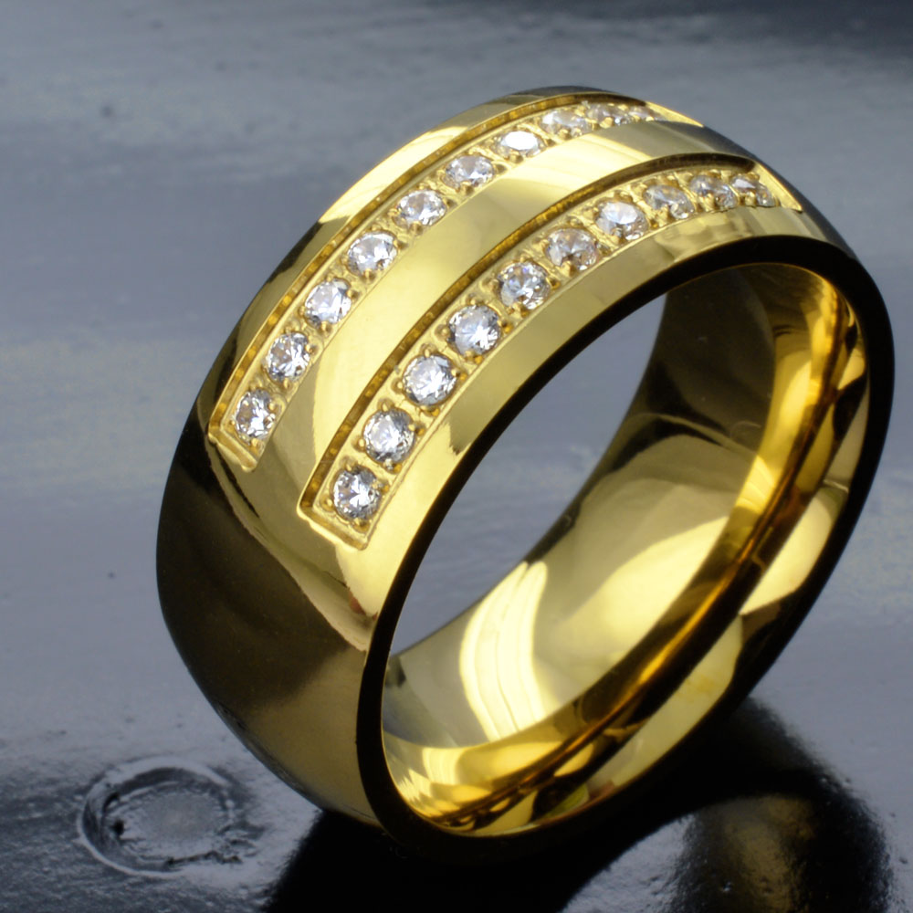 Men's Gold Tone Stainless Steel CZ Wedding Engagement Ring Band R276A SIZE Y