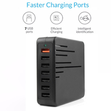 Universal 36W 7 Ports USB Quick charge 3.0 for Iphone XS Max XR EU US Plug Mobile Phone Fast charger charging for Samsug S10 S9 3 usb quick charge 3 0 5v 3a eu us for iphone 7 8 eu us plug mobile phone fast charger charging for samsug s8 s9 xiaomi note 7