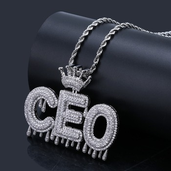 Nombre personalizado Letras de burbuja collares de cadena con colgantes de encantos de helado CZ joyería de Hip Hop regalos con oro plata directo cadena