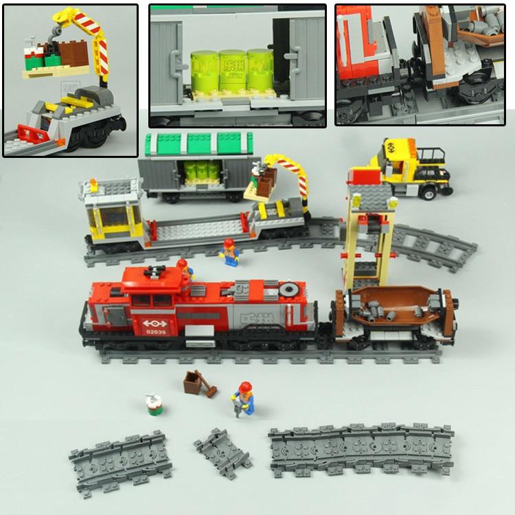 LEPIN 02039 Rouge Cargo Train Ville Télécommande RC Blocs de Construction Briques Jouets de BRICOLAGE Pour Les Garçons oyuncak Compatible avec legoing 3677