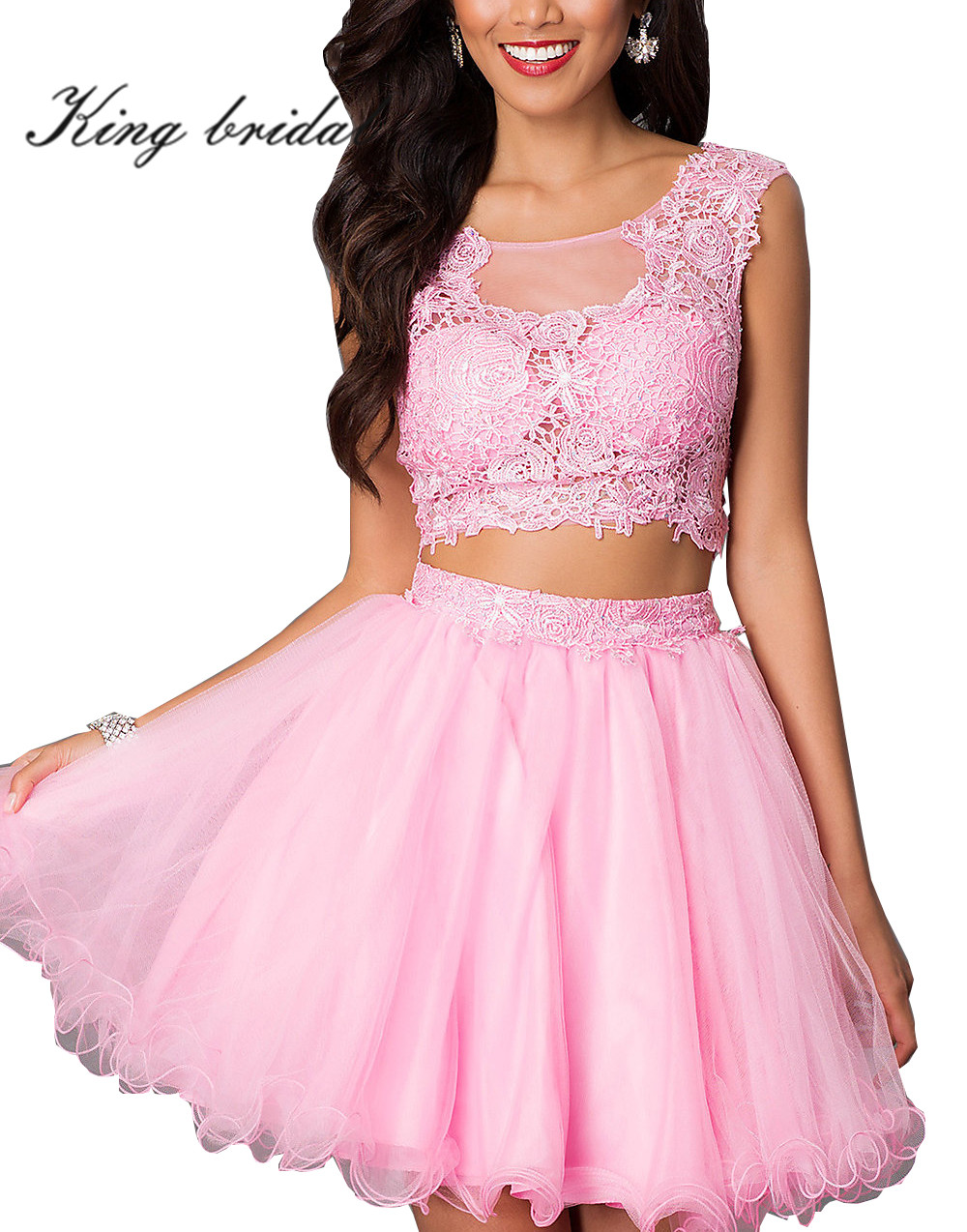 2017 Sexy Two Pieces Lace Tulle Short Prom Dresses Pretty Pink Gold ...