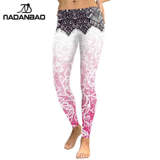 Nadanbao Для женщин Леггинсы Мандала Цветок 3D цифровой печати Тонкий розовый Фитнес женские Леггинсы Карандаш Брюки