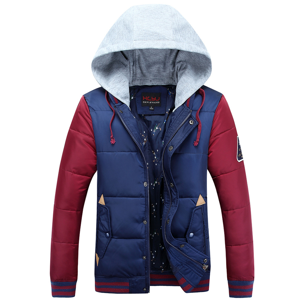 Patchwork Hoodied Men Coat  Winter Outwear New Fashion Top Quality Warm Outdoor Autumn Jacket Thicken Hood Sport Male Clothing