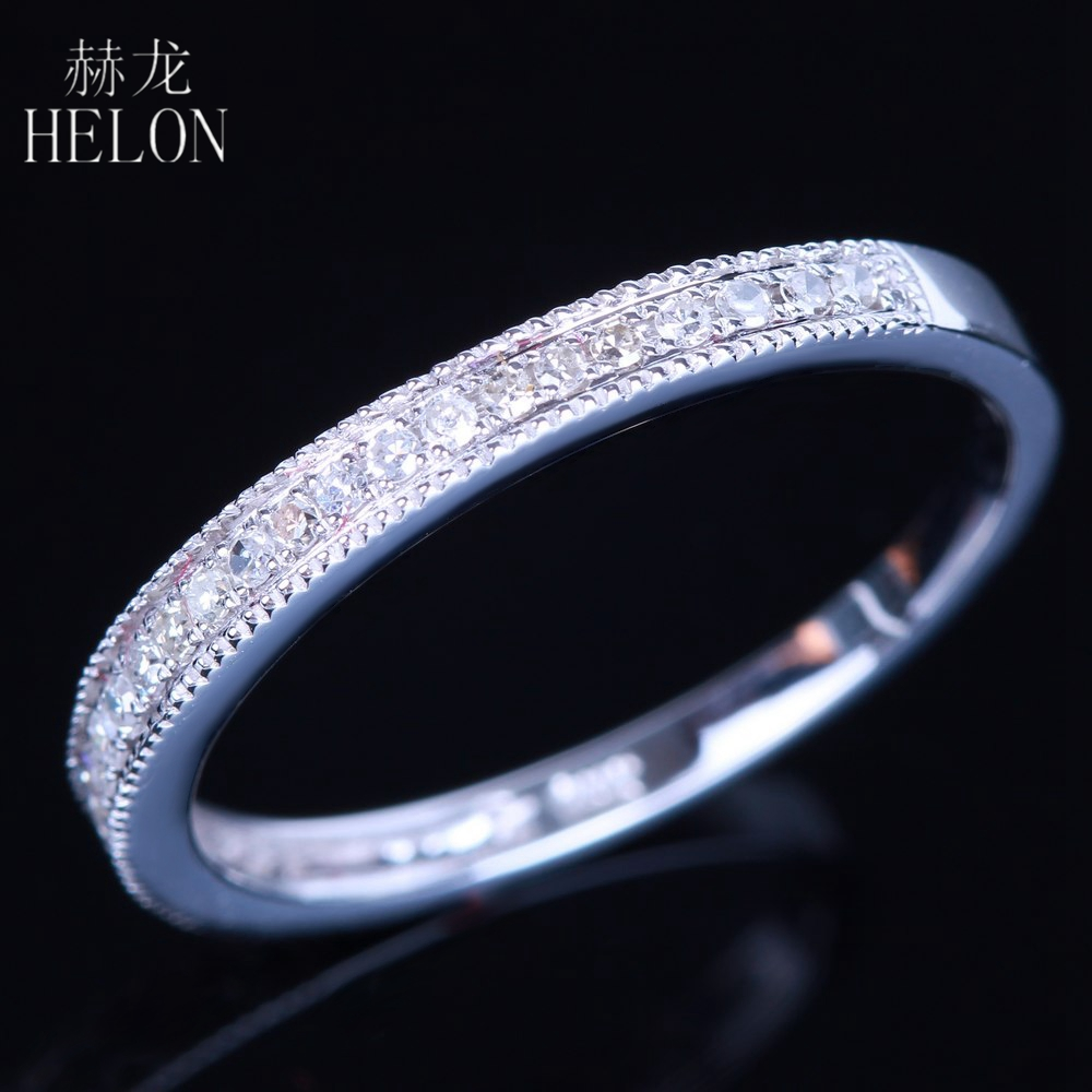 HELON Pave 0.2ct Natural Diamonds Band 925 Sterling Silver Diamonds Engagement Wedding Ring For Womens Jewelry Fine RingHELON Pave 0.2ct Natural Diamonds Band 925 Sterling Silver Diamonds Engagement Wedding Ring For Womens Jewelry Fine Ring
