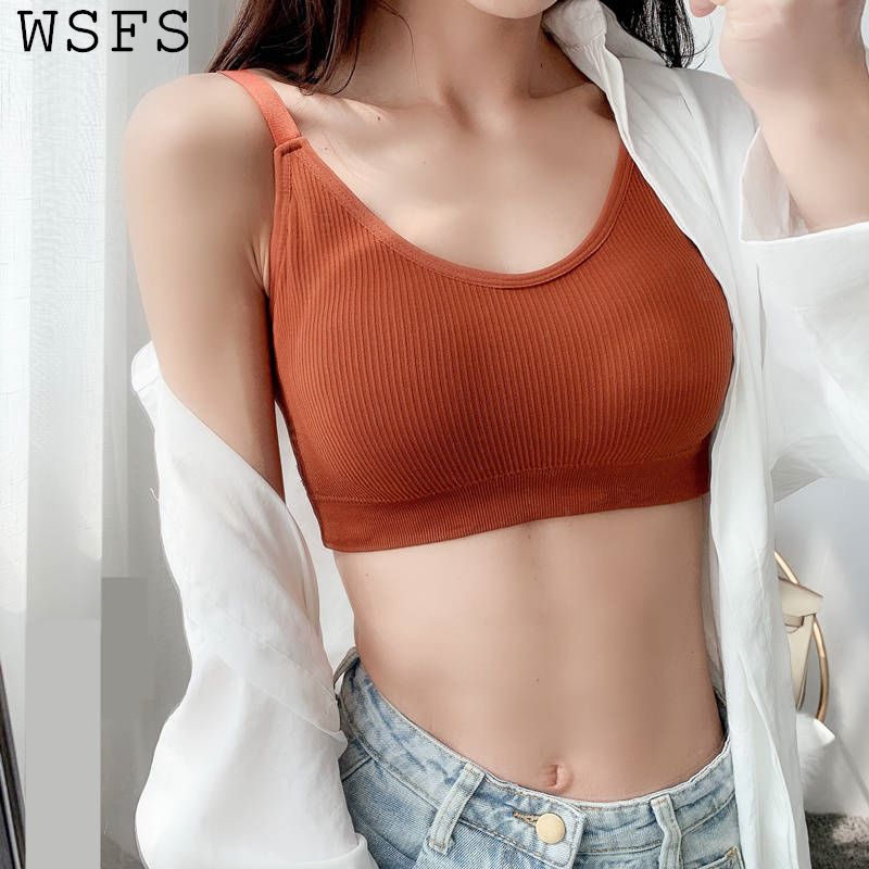 WSFS Summer Crop   Top   Women   Tops   Sexy   Tank     Top   Short Corset Sleeveless Casual Wrap Harajuku Solid Fitness Underwear Bra Cropped