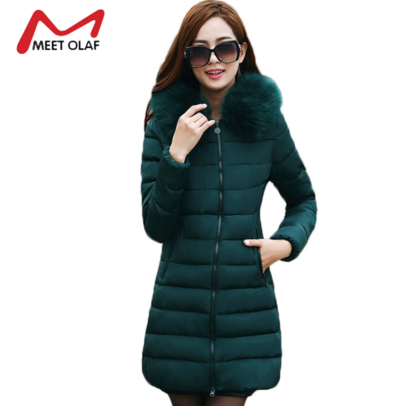 2017 Winter Jackets Women Winter Coats Plus Size 6XL Fur Hood Cotton Padded Middle Aged Female