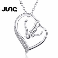 925 Sterling Silver Mother And Child Horse Head Heart Shape Pendant Necklace