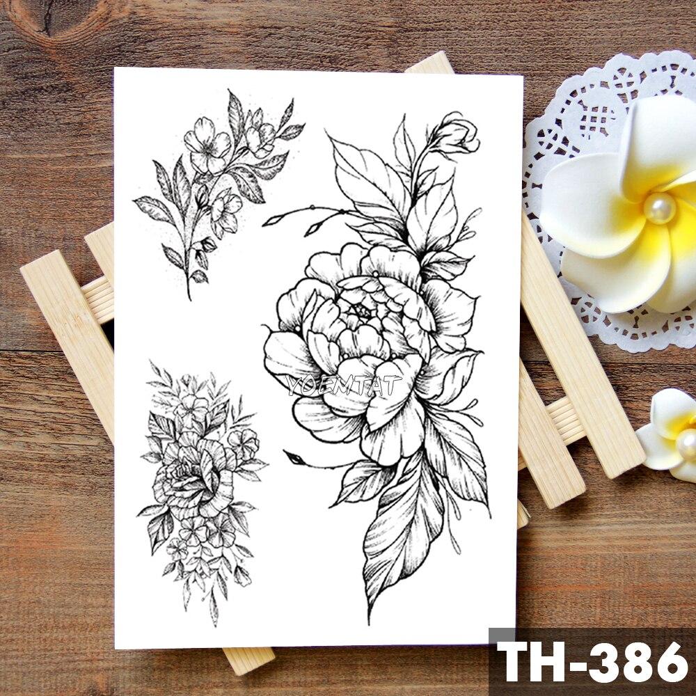 Sketch Flower Blossom Peony Rose Waterproof Temporary Tattoo Sticker Black Tattoos Body Art Arm Hand Girl Women Fake Tatoo 5