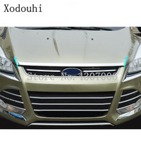 For Ford Kuga 2013 2014 2015 2016 Car cover bumper engine ABS Chrome trim front grid grill grille frame edge 1pcs