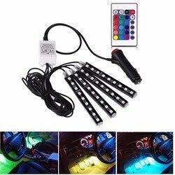 4 шт. 12 в автомобильный RGB светодиодный DRL полосы света 5050SMD автомобильное автоматическое дистанционное управление декоративная гибкая свет...