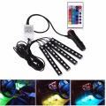 4Pcs 12V Car RGB LED DRL Strip Light 5050SMD Car Auto Remote Control Decorative Flexible LED Strip Atmosphere Lamp Kit Fog Lamp