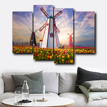 Laeacco Windmill Garden Posters Prints Canvas Calligraphy Painting Wall Art Nordic Home Living Room Bedroom Decoration