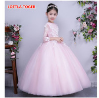 2017 autumn and winter host dress poncho long baby bridesmaid flower girl wedding dress fluffy ball gown USA birthday evening p