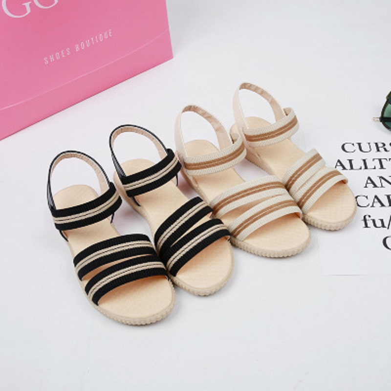 2018 summer new elastic cloth striped sandals women's flat low-heeled student shoes 1