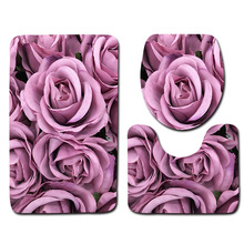 T 3pcs Red Rose Bath Mats Romantic Valentine's Day Carpet Bath Rugs Bathroom Anti Slip Home Decor Toilet Seat Covers Set Xmas цена 2017