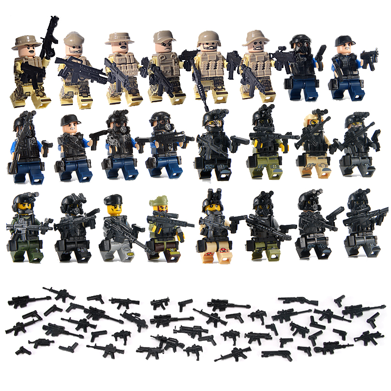 24PCS LegoINGlys Military Swat Team City Police Armed Assault Army soldiers With Weapons Guns Figure WW2 World War Blocks Toys men of war assault squad ключ стим